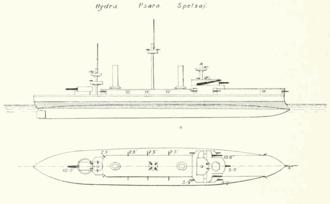 Greek ironclad Spetsai - Linedrawing of a Hydra-class ship