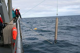 Hydrophone - A hydrophone being lowered into the North Atlantic