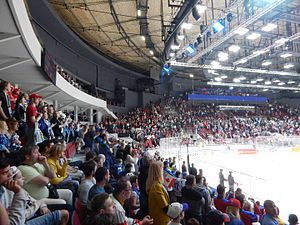 Yubileyny Sports Palace - Tribunes 8 and 9 of the Yubileyny Sports Palace during the opening game of 2016 IIHF World Championship.