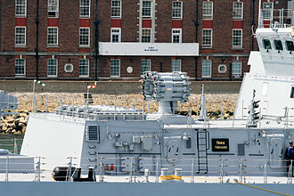 RBU-6000 - Indian frigate Trikand, completed in 2013, with its RBU-6000 launcher and BrahMos VLS, visiting Portsmouth, UK, on its delivery voyage from St Petersburg.