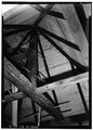 INTERIOR, DETAIL OF ROOF BEAMS - Palmer-Marsh Smokehouse, Main Street, Bath, Beaufort County, NC HABS NC,7-BATH,1A-2.tif
