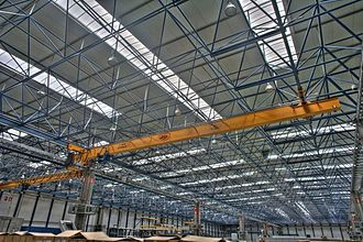 Space frame - The roof of this industrial building is supported by a space frame structure.