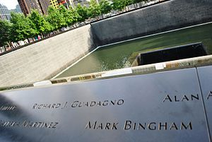Mark Bingham - Bingham's name is located on Panel S-67 of the National September 11 Memorial's South Pool, along with those of other passengers of Flight 93.