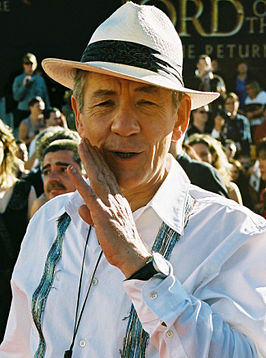 Sir Ian McKellen op de première van The Return of the King in Wellington (Nieuw-Zeeland), 1 december 2003