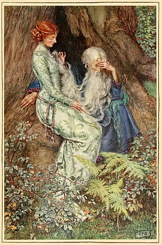 "Lady of the Lake - ""O master, do you love my tender rhyme?"" Eleanor Fortescue-Brickdales' illustration for Idylls of the King (1913)"