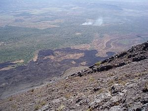 Izalco (volcano) - Lava flow of the 1966 flank eruption over the much older lava flow. This image looks towards the south from the slope of Izalco