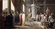 Painting of Hector Leroux (1682–1740), which portrays Pericles and Aspasia admiring the gigantic statue of Athena in Phidias' studio