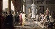 Pintura de Hector Leroux (1682–1740), que retrata a Pericles y Aspasia admirando la gigantesca estatua de Atenea en el estudio de Fidias.