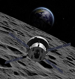 Illustration of Orion over lunar surface with Earthrise (32125696615) (cropped).jpg