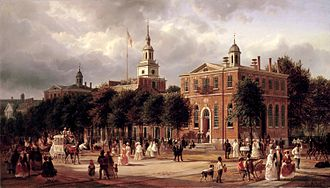 History of the United States Constitution - Image: Independence Hall in Philadelphia by Ferdinand Richardt, 1858 63