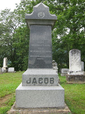 John J. Jacob (West Virginia) - Gravestone at the interment site of John J. Jacob at Indian Mound Cemetery in Romney, West Virginia.
