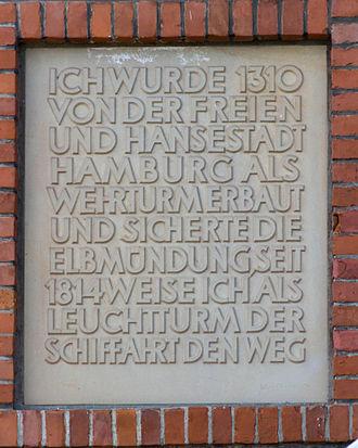 Great Tower Neuwerk - Image: Inschrift Neuwerk Leuchtturm