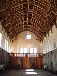 great hall of stirling castle scotland view towards the north showing screens passage with minstrels gallery above