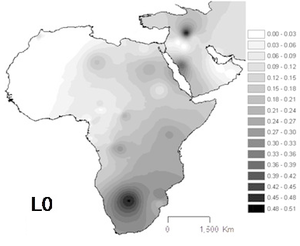 Haplogroup L0 (mtDNA) - Projected spatial distribution of haplogroup L0 in Africa.