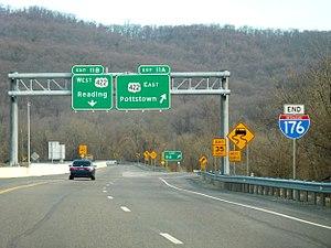 Interstate 176 - I-176 northern terminus at U.S. 422 in Cumru Township