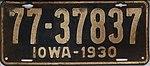 Iowa 1930 license plate - Number 77-37837.jpg