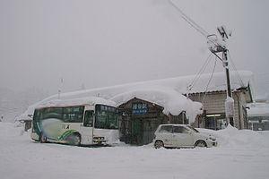 Takayama Main Line - Inotani Station covered in snow