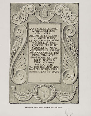 Caroline Park - Copy of the inscription from above the north door to Royston House
