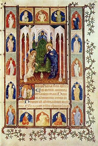 Jacquemart de Hesdin - The Annunciation, miniature by Jacquemart de Hesdin from Les Petites Heures of John, Duke of Berry, c. 1400