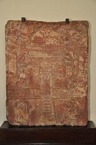 Kankali Tila - Image: Jain Tablet Homage Set up by Vasu the Daughter of Courtesan Lavana Sobhika Circa 1st Century CE Kankali Mound ACCN 00 Q 7 Government Museum Mathura 2013 02 24 5987