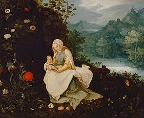 Maria mit Kind in einer Landschaft