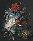 Jan van Huysum - Glass Vase with Flowers, a Poppy and a Finch Nest, 1720-21.jpg