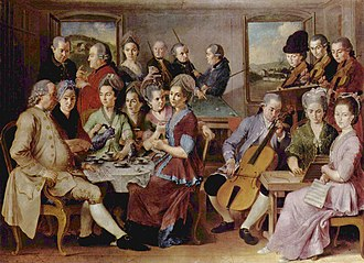Carom billiards - The Family Remy by Januarius Zick, c. 1776, featuring billiards among other parlour activities