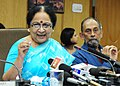 Jayanthi Natarajan addressing the media on the issue of XI Conference of Parties (CoP), in New Delhi on September 28, 2012. The Secretary of the Ministry of Environment & Forests, Shri T. Chatterjee is also seen.jpg