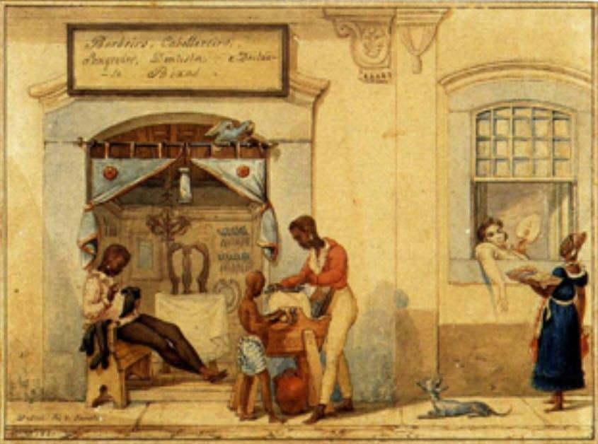 Jean Baptiste Debret - Loja de barbeiros, 1821