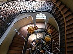 Jelky School. Staircase from top. Papier-mâché birds and balloons. - Budapest.JPG