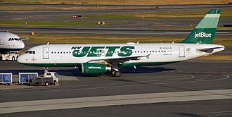 New York Jets - JetBlue honors the NY Jets with its green plane.