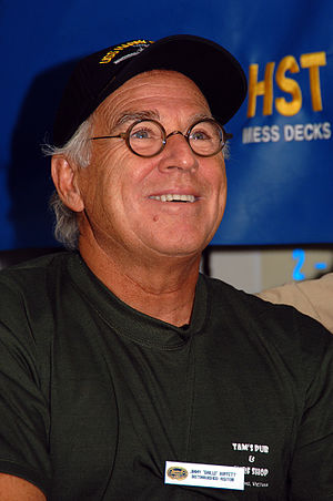 Recording artist Jimmy Buffett looks up to spe...