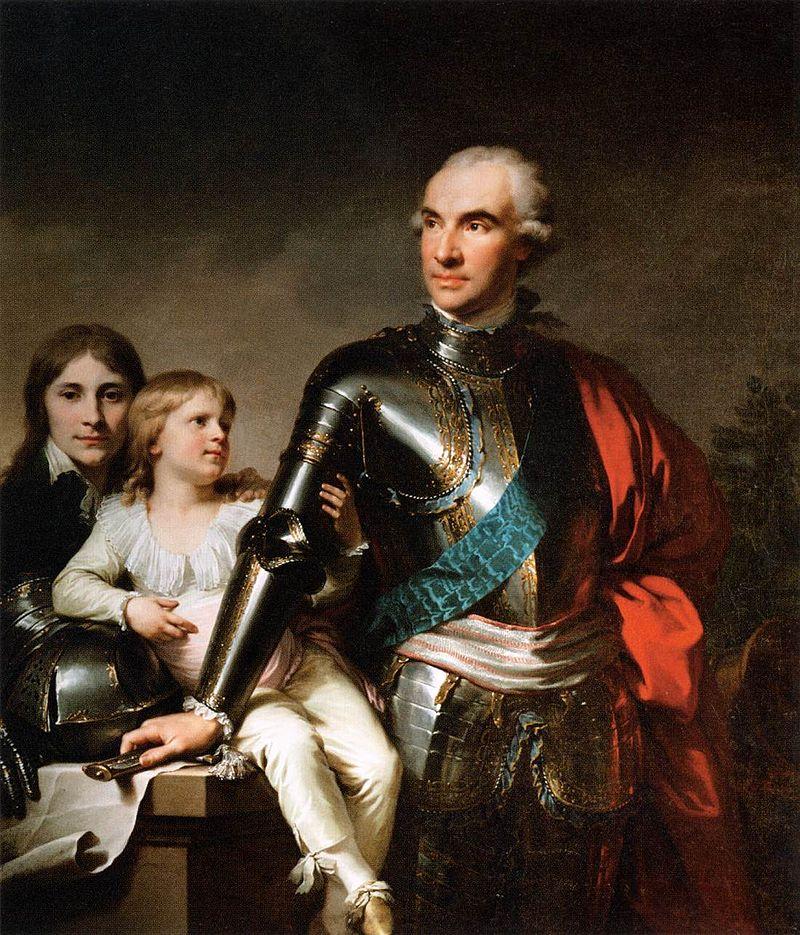 Иоганн-Баптист Лампи д.  Ä.  - Граф Станислав Феликс Потоцкий и два его сына - WGA12413.jpg