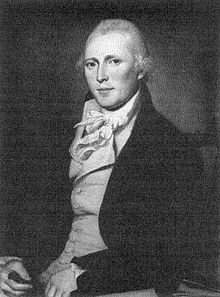 black and white photo of a color painting of a white male in wig and coat