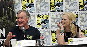 Stan Against Evil - McGinley and Varney at a panel for Stan Against Evil at the 2017 Comic-Con International