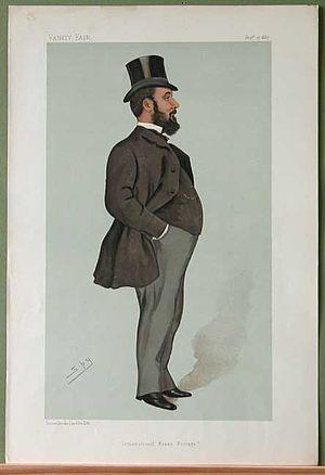"John Henniker Heaton - ""International Penny Postage"". Caricature by Spy published in Vanity Fair in 1887."