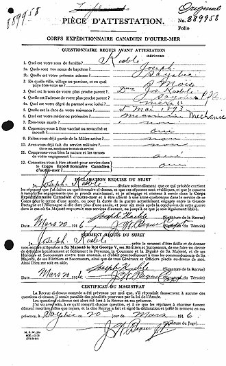 Joseph Kaeble - Joseph Keable's Canadian Expeditionnary Force Enlistment Document dated 20 March 1916