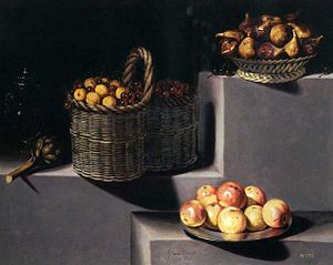 Juan van der Hamen - Still life with artichokes, figs peaches and apples, 1627