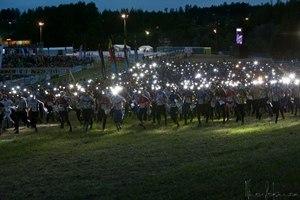 Jukola relay - The Jukola 2012 relay start had 1600 men with their headlamps