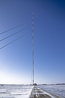 KVLY-TV mast Tall television-transmitting mast in Blanchard, Traill County, North Dakota, United States
