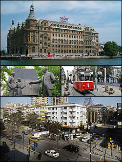 Images from Kadıköy, Top: Haydarpaşa Terminal, Middle left: Atatürk monument, Middle right: Nostalgic tramway, Bottom: City centre