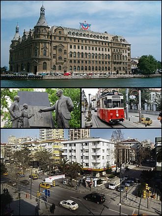 Kadıköy - Images from Kadıköy, Top: Haydarpaşa Terminal, Middle left: Atatürk monument, Middle right: Nostalgic tramway, Bottom: Bağdat Avenue.