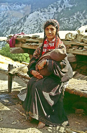 Kalash people - A Kalash woman in traditional costume.