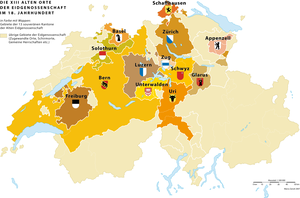 "Cantons of Switzerland - The ""Thirteen-Canton Confederation"" of the Old Swiss Confederacy (1513–1798)"
