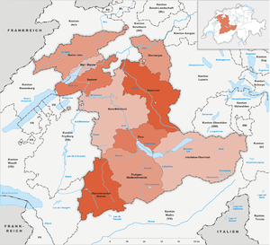Subdivisions of the canton of Bern - Districts of the canton of Bern