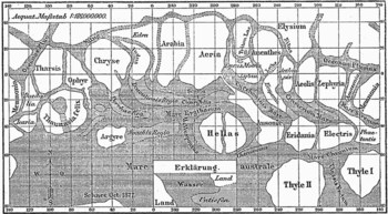English: Historical map of planet mars from Gi...