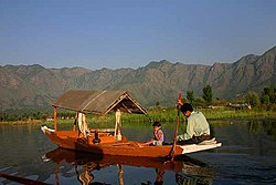 Tourism is one of the main source of income for vast sections of the Kashmiri population. However, the tourism industry in Kashmir was badly hit ever since insurgency intensified in 1989. Shown here is the famous Dal Lake in Srinagar