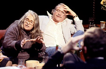 "Appearing with Kate Millett on the After Dark programme ""Do Men Have to Be Violent?"" Kate Millett and Oliver Reed appearing on ""After Dark"", 26 January 1991.jpg"