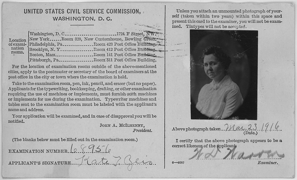 Kate T. Zeis, photo for US Civil Service Commission card - NARA - 285491
