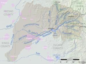 St. John's River (California) - Image: Kaweah river basin